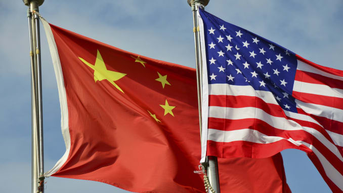 United States China Flags