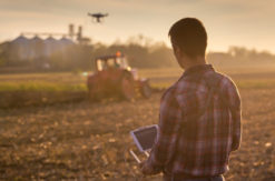 Farmer Controlling Drone in Field
